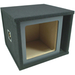 "Single 12"" Square Cutout Painted Baffle Vented Sub Box Enclosure (Black)"