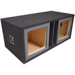 "Dual 12"" Square Cutout Painted Baffle Vented Sub Box Enclosure (Black)"