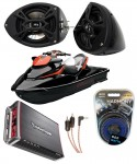"Sea-Doo PWC Marine Kicker KS525 & Rockford Amp Custom 5 1/4"" Black Speaker Pods Package"