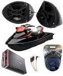 "Sea-Doo PWC Marine Rockford R152 &  PBR300X4 Amp Custom 5 1/4"" Black Speaker Pods Package"