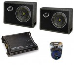 Kicker Car Stereo Regular Cab Truck System (2) TC10 4 Ohm Boxes, ZX350.4 Amp & Install Kit