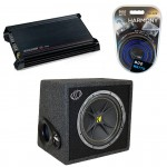 Kicker Car Stereo Subwoofer System Includes VC12 4 Ohm Box, DX300.2 Amp & Install Kit