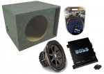 "2010 CVX12 CVX Dual 4 Ohm 800 Watt Loaded 12"" Kicker Refurbished Car Stereo Subwoofer Ported Box, Boss R1100M Mono 1100 Watt Amplifier & 4 Gauge Wire Amp Kit"
