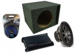 "Kicker Car Audio 12"" Loaded CVR12 Dual 2 Ohm Vented Subwoofer Box, DX300.2 Amp & Amplifier Install Kit"
