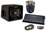 "Kicker Car Stereo Single L7 12"" VS12L7 Loaded Vented Sub Box, ZX1000.1 Amplifier & Amp Install Kit"