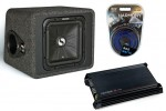 "Kicker Car Stereo Single L3 12"" VS12L7 4 Ohm Loaded Vented Sub Box, DX300.2 Amplifier & Amp Install Kit"