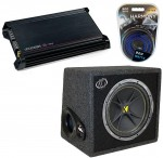 Kicker Car Audio DX300.2 Amplifier Amp, VC12 Loaded 4 Ohm Sub Box & 8GA Amp Wire Kit System