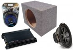 "Kicker Car Stereo 15"" Loaded CVR15 Dual 2 Ohm Sealed Subwoofer Box, DX300.2 Amp & Amplifier Install Kit"