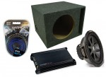 "Kicker Car Stereo 15"" Loaded CVR15 Dual 2 Ohm Ported Subwoofer Box, DX300.2 Amp & Amplifier Install Kit"