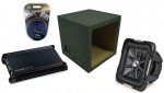 "Kicker Car Stereo 15"" Loaded S15L7 Dual 2 Ohm Sealed Subwoofer Box, DX300.2 Amp & Amplifier Install Kit"