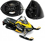 "Ski-Doo Snowmobile Kicker Package KS525 Custom 5 1/4"" Gloss Black Speaker Pods Pair"