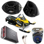 "Ski-Doo Snowmobile Rockford R152 &  PBR300X4 Amp 5 1/4"" Speaker Pod Package"