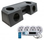 "Water Resistant ATV Front Guide Rail (4) 6 1/2"" Speakers & Radio Speaker Audio Spray Cpated Box with Boss MCK1308WB.64 Package"