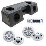 "Water Resistant ATV Front Guide Rail (4) 6 1/2"" Speakers & Radio Speaker Audio Spray Cpated Box with Boss MCK1440W.64 Package"