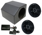 "ATV UTV Jeep Boat Golf Cart Dual 4"" Front Speaker Dash Mount Spray Coated Box with Kicker DSC44 Speakers & PXIBT50.2 Bluetooth Wired Control Amplifier"