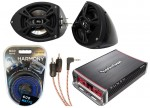 "Rockford PBR300X4 Amp & R152 Custom Powersport 5 1/4"" Black Speaker Pod Package"