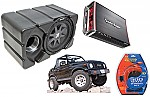 "Suzuki Samurai Kicker CVR10 & Rockford Amp Car Stereo Custom Fit 10"" Subwoofer Enclosure"