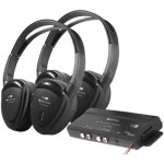 Power Acoustik HP-902RFT Two Swivel Ear Pad 2-Channel RF 900 MHz Wireless Headphones (2 Headphones)