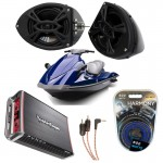 "Yamaha Wave Runner PWC Marine Kicker KS525 & Rockford Amp Custom 5 1/4"" Black Speaker Pods Package"