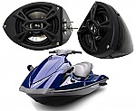 "Yamaha Wave Runner PWC Marine Kicker Package KS525 Custom 5 1/4"" Gloss Black Speaker Pods"