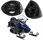 "Yamaha Snowmobile Kicker Package KS525 Custom 5 1/4"" Gloss Black Speaker Pods Pair"