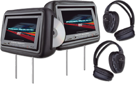 Headrest Monitor with DVD Player by Power Acoustik at HalfPriceCarAudio.com